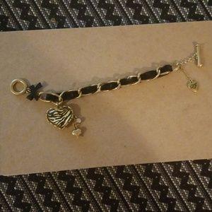 Betsey Johnson Zebra Heart Bracelet